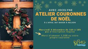 Atelier couronnes de Noël avec Jocelyne @ AFKO